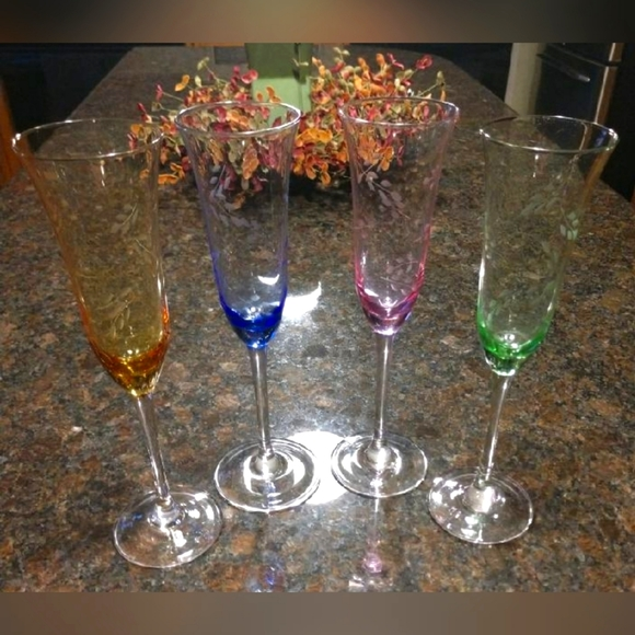 Vintage Multi-Colored Etched Champagne Glasses-4